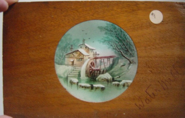 Magic Lantern Slide Wooden Frame , Water Mill