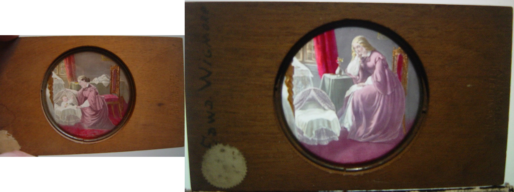 #15 - Magic Lantern 2 Slides Wooden Frame- Fondly Gazing