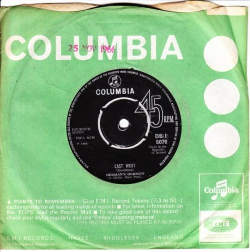 Hermans Hermits - East West - COLUMBIA - IRISH 3072