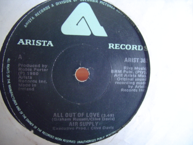 AIR SUPPLY - ALL OUT OF LOVE - ARISTA IRISH