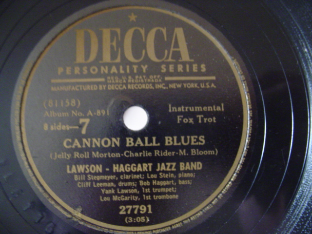LAWSON HAGGART JAZZ BAND - CANNON BALL BLUES - DECCA