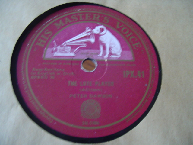 PETER DAWSON - THE LUTE PLAYER - HMV IRISH PRESS