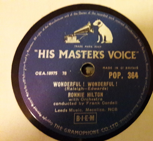 Ronnie Hilton - Wonderful , Wonderful - HMV POP.364 E+