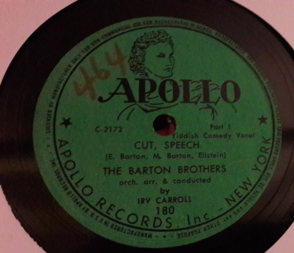 Barton Brothers - Cut , Speech - Apollo 180 USA Yiddish