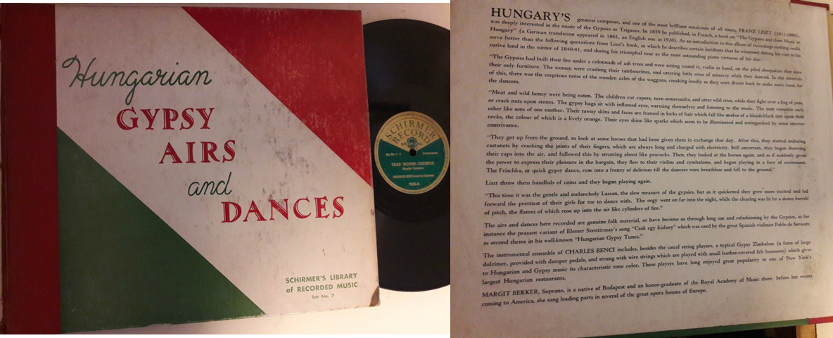 Hungarian Gypsy Airs & Dances - Schirmer's Set No.7 - 4x78 USA