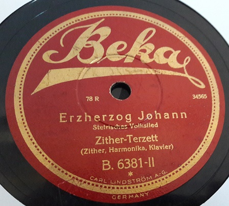 Zither Terzett - Erzherzog Johann - Beka B.6381 Germany E