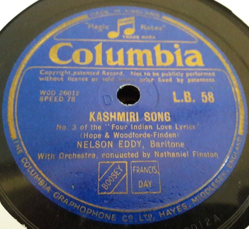 Nelson Eddy - Kashmiri Song - Columbia LB.58 UK E+