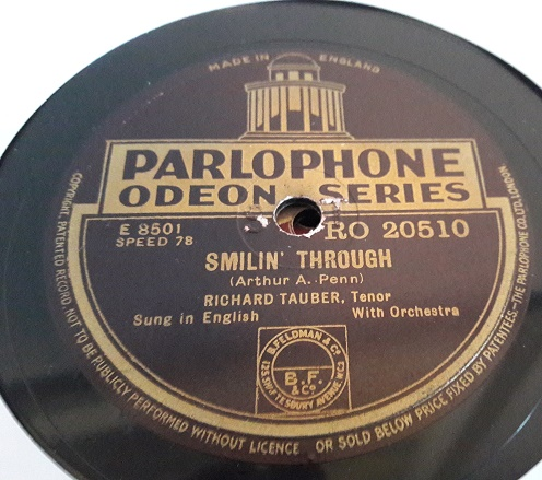 Richard Tauber - Smilin' through - Parlophone RO.20510 E