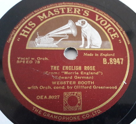 Webster Booth - The English Rose - HMV B.8947 E