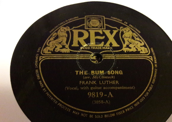 Frank Luther - The Bum Song - Rex 9819 E