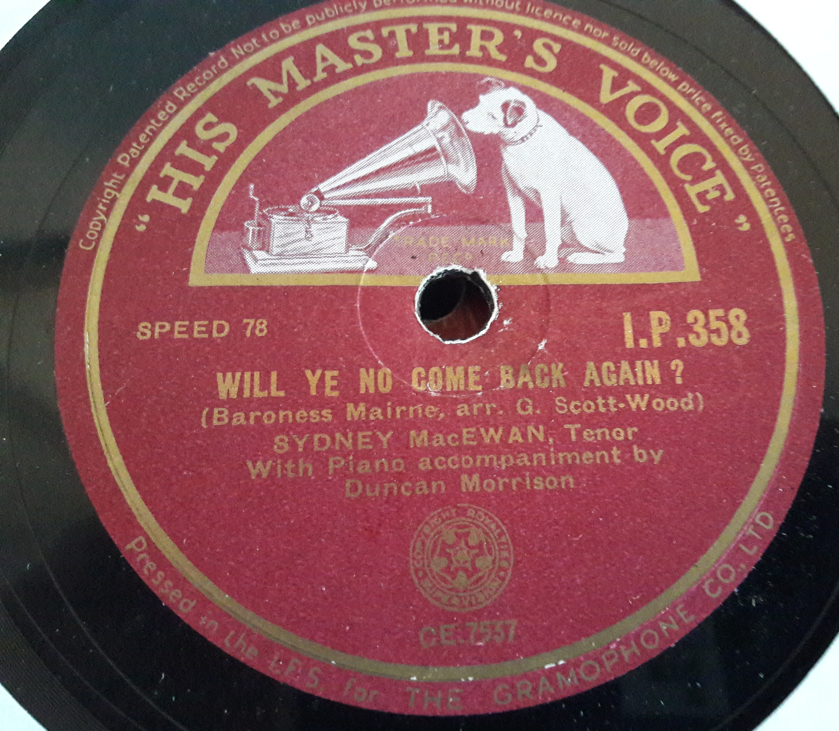 Sydney MacEwan - Loch Lomond - HMV IP.358 Irish E