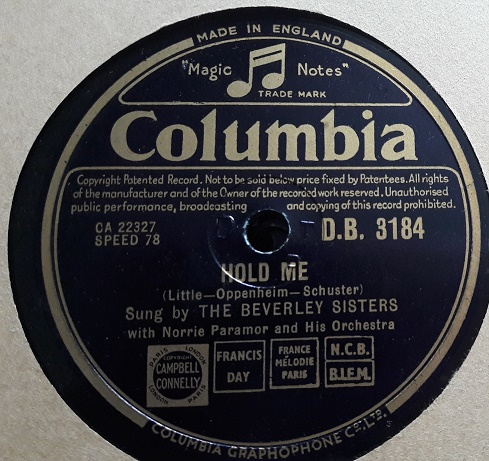 Beverley Sisters - Wyoming Lullaby - Columbia DB.3184 E++