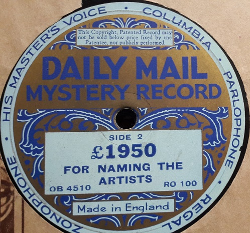 Daily Mail Mystery Record - £1950 For Guessing Artists 1930s