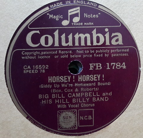 Big Bill Campbell Hill Billy Band - Horsey - Columbia FB.1784