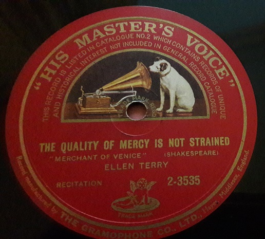 Ellen Terry - The Quality of mercy is not strained - HMV 2-3535