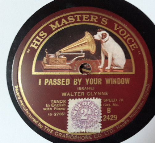 Walter Glynne - I passed by your Window - HMV B.2429 E+