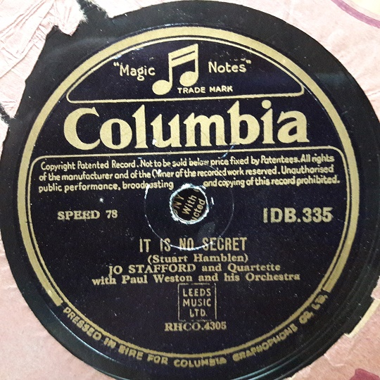 Jo Stafford - It is no secret - Columbia IDB.335 Irish Pressing