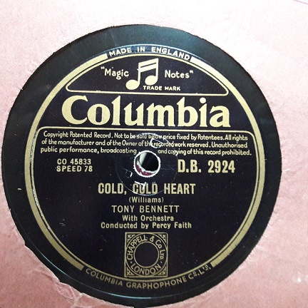 Tony Bennett - Cold , cold heart - Columbia D.B.2924 UK