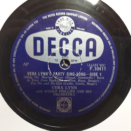 Vera Lynn - Party Sing Song - Decca F.10411 UK
