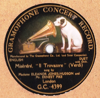Eleanor Jones Hudson & Ernest Pike - Verdi - Gramophone G.C.4399