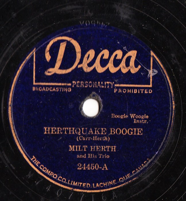 Milt Herth - Herthquake Boogie - Decca 24450 USA