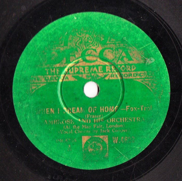 Ambrose & Orchestra - When I dream of Home - Decca W 4623 Irish