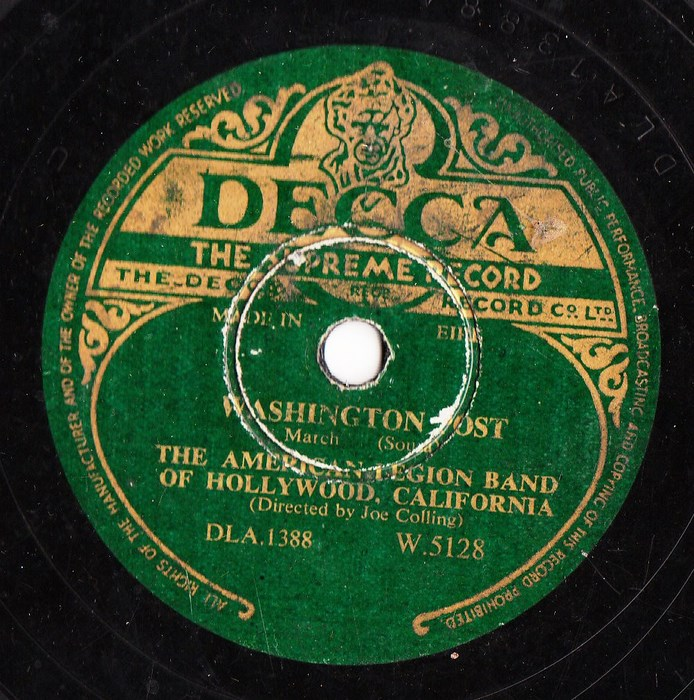 American Legion Band of Hollywood - Washington Post - Decca 5128