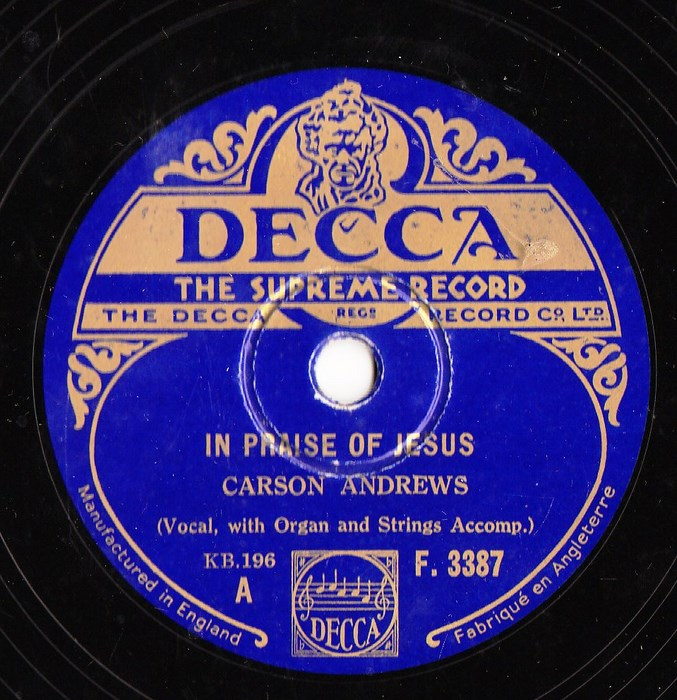 Carson Andrews - In praise of Jesus - Decca F.3387