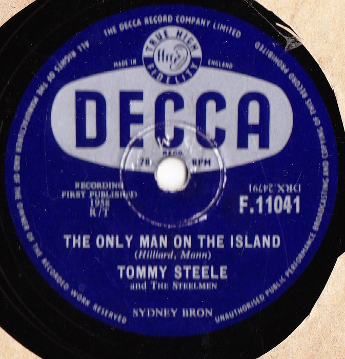 TOMMY STEELE - MAN ON ISLAND - DECCA RARE 78 rpm