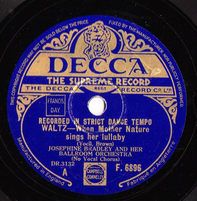 Josephine Bradley - When Mother Nature - Decca F.6896