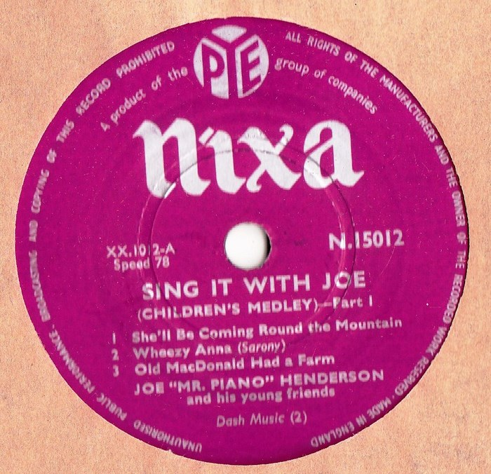 Joe Mr. Piano Henderson - Sing it with Joe - Nixa N.15012