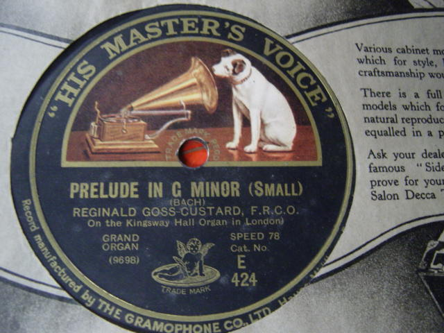 Reginald Goss Custard Organ - Bach Prelude - HMV E. 424