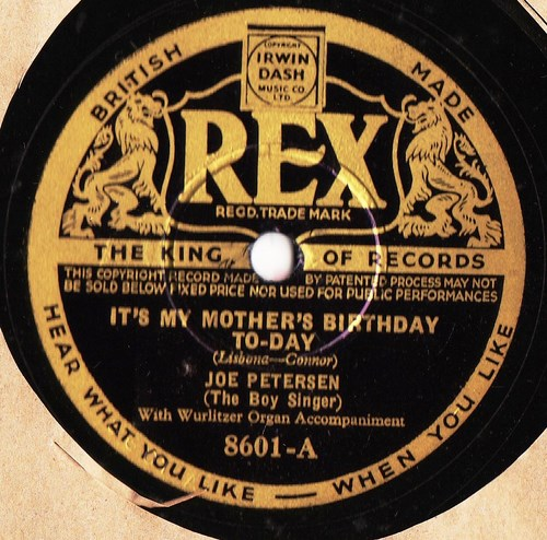 Joe Petersen The Boy Singer - Mothers Birthday - Rex 8601