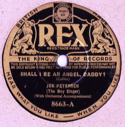 Joe Petersen The Boy Singer - Shall I be angel Daddy - Rex 8663