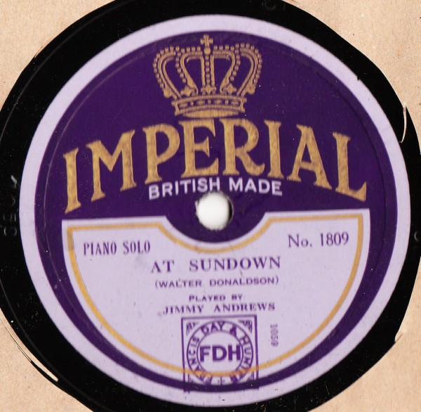 Jimmy Andrews Piano - At Sundown - Imperial 1809