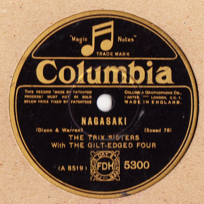 The Trix Sisters - Nagasaki - Columbia 5300