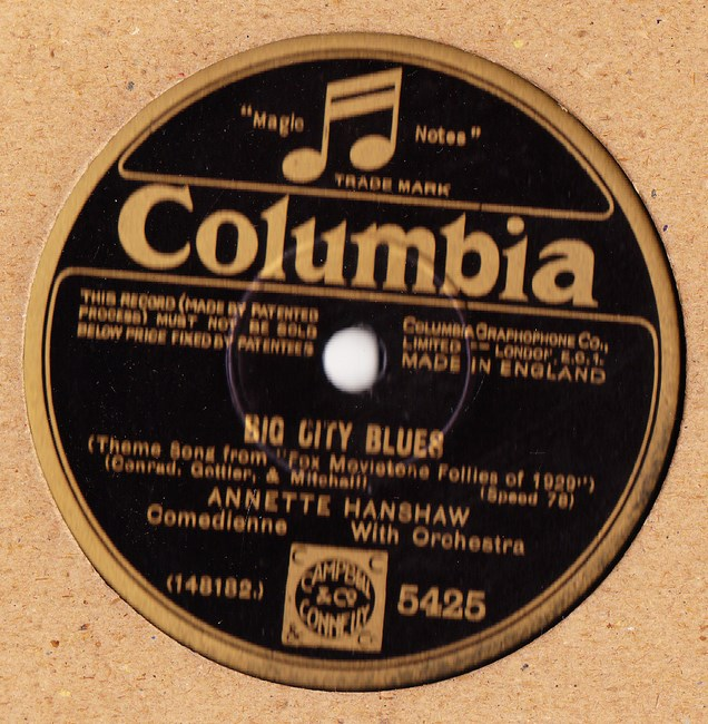 Annette Hanshaw - Big City Blues - Columbia 5425 Mint Minus