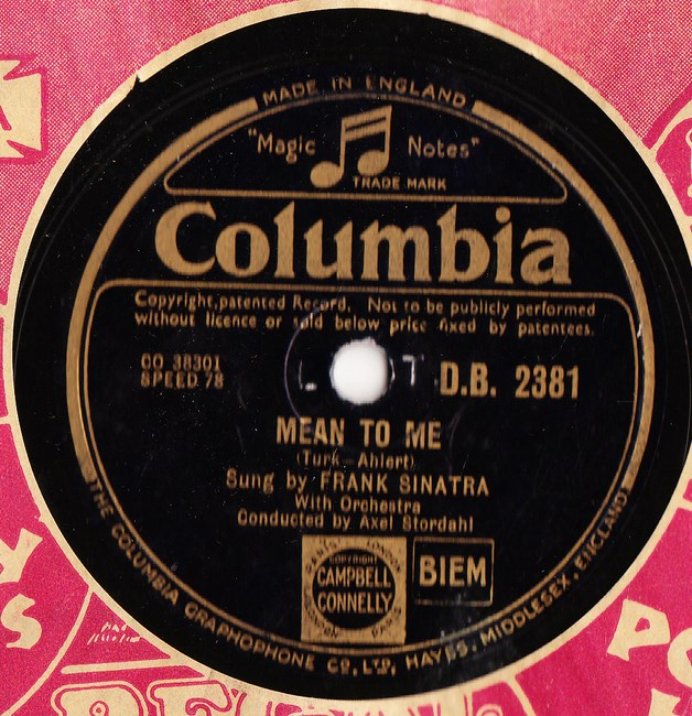 Frank Sinatra - Mean to me - Columbia DB.2381 Excellent