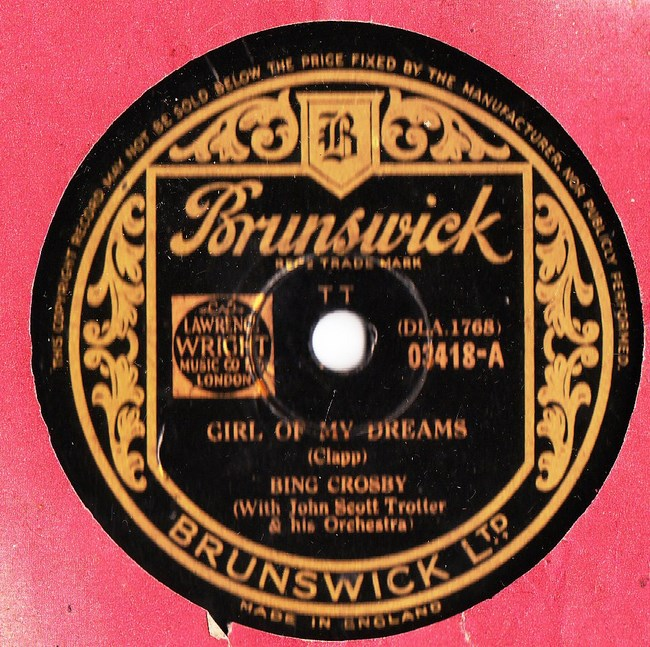 Bing Crosby - Girl of my Dreams - Brunswick 03418 Ex