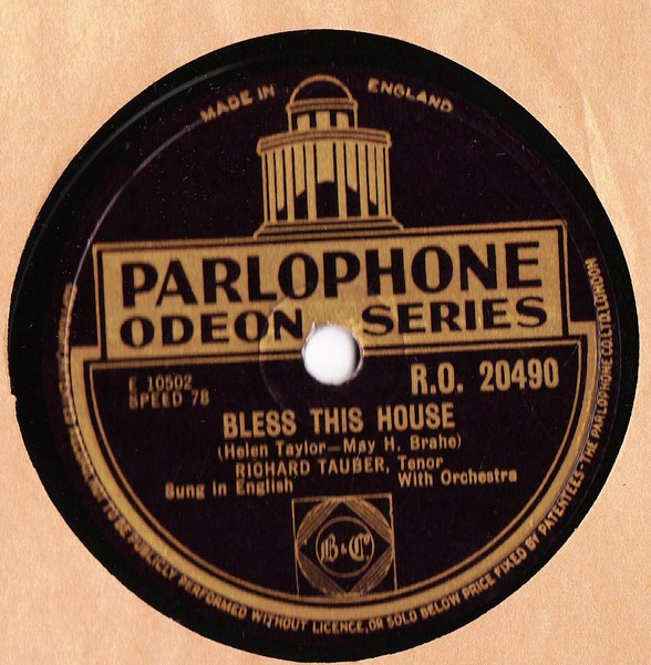 Richard Tauber - Bless this House - Parlophone RO.20490