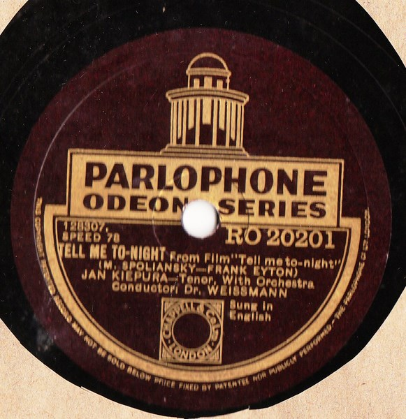 Jan Kiepura - Tell me Tonight - Parlophone RO.20201