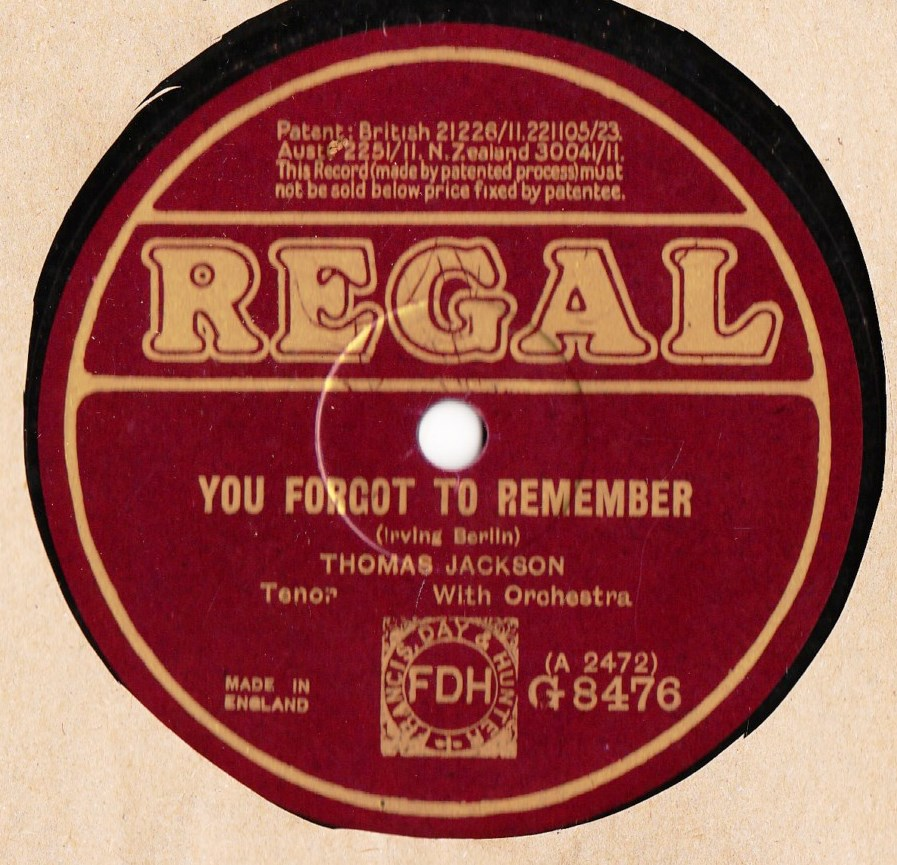 Thomas Jackson - When you and I were Seventeen - Regal G.8476