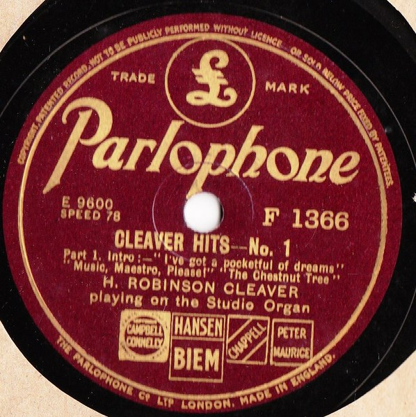 H. Robinson Cleaver - Cleaver Hits No. 1 - Parlophone F.1366