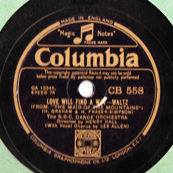 BBC Dance Orchestra - Butterflies in Rain - Columbia CB.558