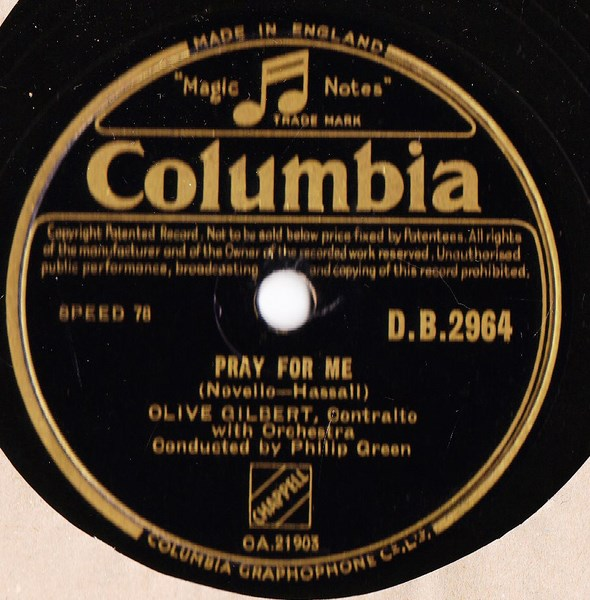 Olive Gilbert - Pray for Me - Columbia DB.2964
