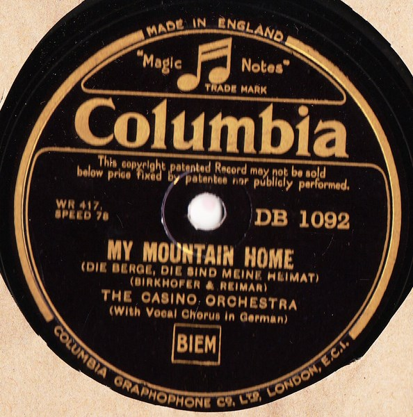 The Casino Orchestra - My mountain Home - Columbia DB.1092