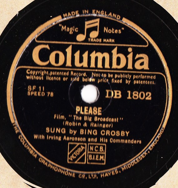 Bing Crosby - Love in Bloom / Please - Columbia DB.1802