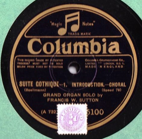 Francis W. Sutton Organ - Suite Gothique - Columbia 5100 / 01