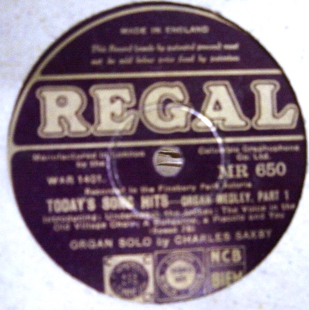 Charles W. Saxby Organ - Today Song Hits - Regal MR.650