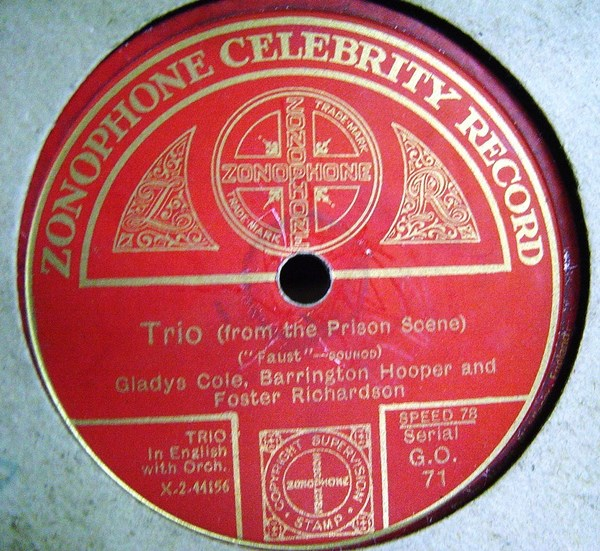 Gladys Cole , Barrington Hooper - Zonophone G.O.71